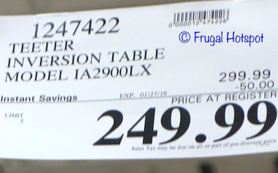 Costco Sale Price: Teeter 900LX Inversion Table