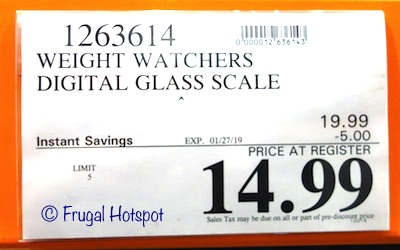 Costco Sale Price: Weight Watchers Digital Glass Scale 2019