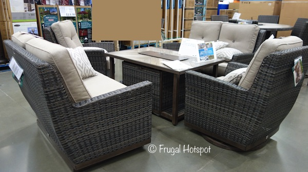 Agio St. Louis 5-Piece Woven Seating Set with Fire Table at Costco