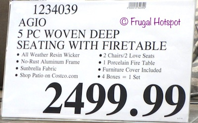 Costco Price: Agio St. Louis 5-Piece Woven Seating Set with Fire Table