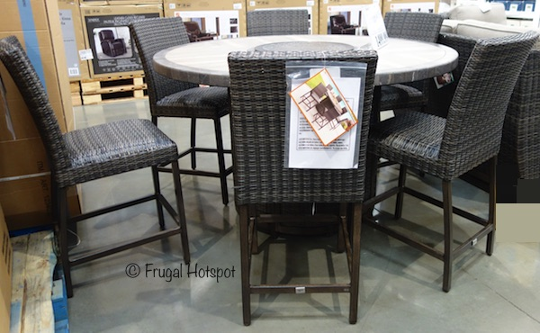 Agio St. Louis 7-Piece High Dining Set with Fire Table at Costco