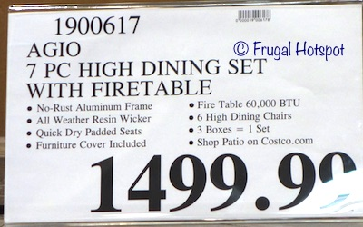 Costco Price: Agio St. Louis 7-Piece High Dining Set with Fire Table