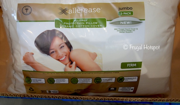 Allerease Organic Cotton Cover Allergy Protection Pillow Jumbo 2-Pack at Costco