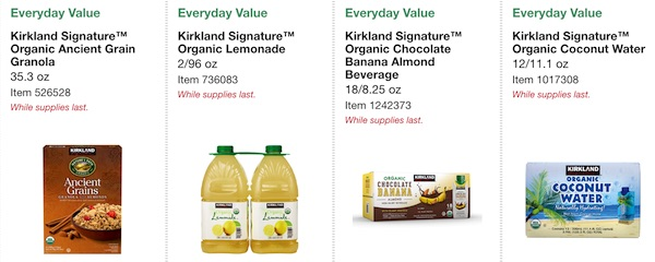 Costco ORGANIC Coupon Book: February 25, 2019 - March 10, 2019. Kirkland Signature Organic Ancient Grain Granola, Kirkland Signature Organic Lemonade, Kirkland Signature Organic Chocolate Banana Almond Beverage, Kirkland Signature Organic Coconut Water