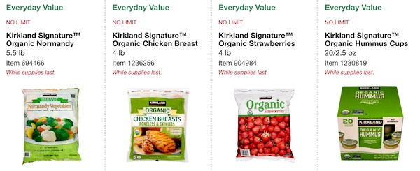 Costco ORGANIC Coupon Book: February 25, 2019 - March 10, 2019. Kirkland Signature Organic Frozen Normandy Vegetables, Kirkland Signature Organic Frozen Chicken Breast, Kirkland Signature Organic Frozen Strawberries, Kirkland Signature Organic Hummus Cups