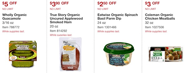 Costco ORGANIC Coupon Book: February 25, 2019 - March 10, 2019. Wholly Organic Guacamole, True Story Organic Uncured Applewood Smoked Sliced Ham, Eatwise Organic Spinach Basil Parmesan Dip, Coleman Organic Chicken Meatballs