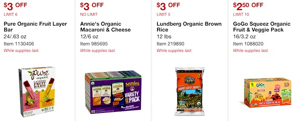Costco ORGANIC Coupon Book: February 25, 2019 - March 10, 2019. Pure Organic Fruit Layer Bar, Annie's Organic Macaroni & Cheese, Lundberg Organic Brown Rice, GoGo Squeez Organic Fruit & Veggie Pack