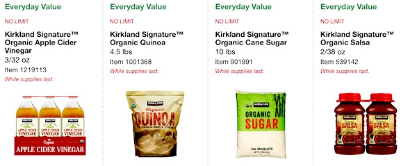 Costco ORGANIC Coupon Book: February 25, 2019 - March 10, 2019. Kirkland Signature Organic Apple Cider Vinegar, Kirkland Signature Organic Quinoa, Kirkland Signature Organic Cane Sugar, Kirkland Signature Organic Salsa