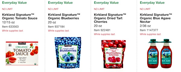 Costco ORGANIC Coupon Book: February 25, 2019 - March 10, 2019. Kirkland Signature Organic Tomato Sauce, Kirkland Signature Organic Dried Blueberries, Kirkland Signature Organic Dried Tart Cherries, Kirkland Signature Organic Blue Agave Nectar