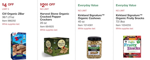 Costco ORGANIC Coupon Book: February 25, 2019 - March 10, 2019. Clif Organic ZBar, Harvest Stone Organic Cracked Pepper Crackers, Kirkland Signature Organic Cashews, Kirkland Signature Organic Fruity Snacks