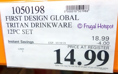 Costco Sale Price: First Design Global Tritan Drinkware 12-Piece Set