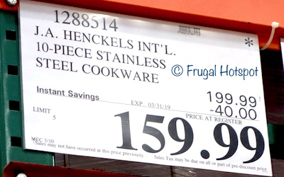 Costco Sale Price: J.A. Henckels International 10-Piece RealClad Tri-Ply Stainless Steel Cookware