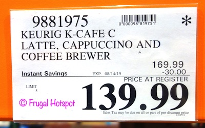 Keurig K-Cafe C Latte, Cappuccino and Coffee Brewer Costco Sale Price