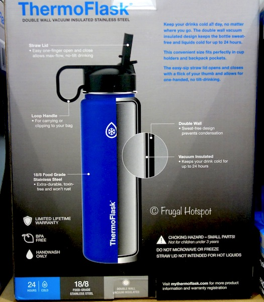 ThermoFlask 24 oz Double Wall Vacuum Insulated Stainless Steel Water Bottle 2-Pack at Costco