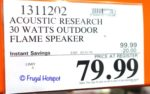 Costco Sale Price: Acoustic Research Portable Wireless Speaker with LED Flickering Flame Light