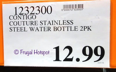 Costco Price: Contigo Couture Stainless Steel Water Bottle 2-Pack