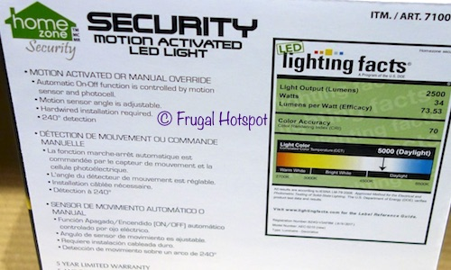 Home Zone Motion Activated Security LED Light at Costco