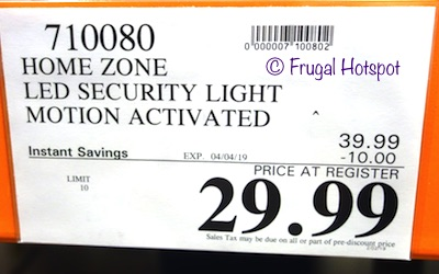Costco Sale Price: Home Zone Motion Activated Security LED Light
