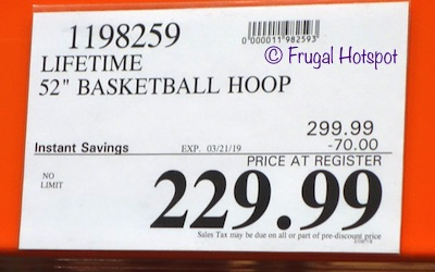 Costco Sale Price: Lifetime 52 Inch Basketball Hoop