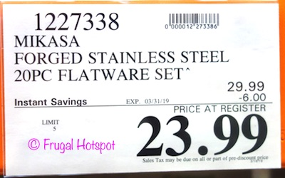 Costco Sale Price: Mikasa Forged Stainless Steel Flatware Set 20-Piece