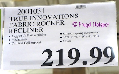 Costco Price: True Innovations Mason Fabric Rocker Recliner