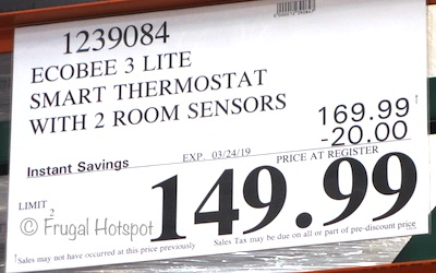 Costco Sale Price: ecobee3 lite Smart Thermostat (2nd gen) with 2 Room Sensors