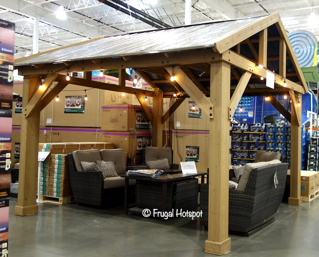 Costco Sale: 14′ x 12′  Yardistry Wood Pavilion w/Aluminum Roof $1,299.99