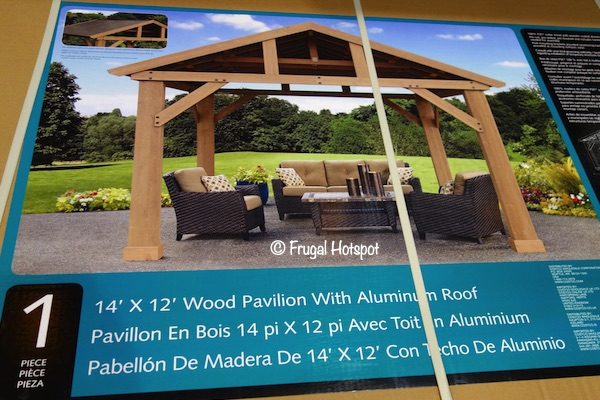 14' x 12' Yardistry Cedar Wood Pavilion with Aluminum Roof at Costco