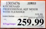 KitchenAid 6-Quart Bowl Lift Mixer Costco Sale Price