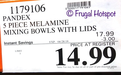 Costco Sale Price: Pandex 5-Piece Melamine Mixing Bowls with Lids