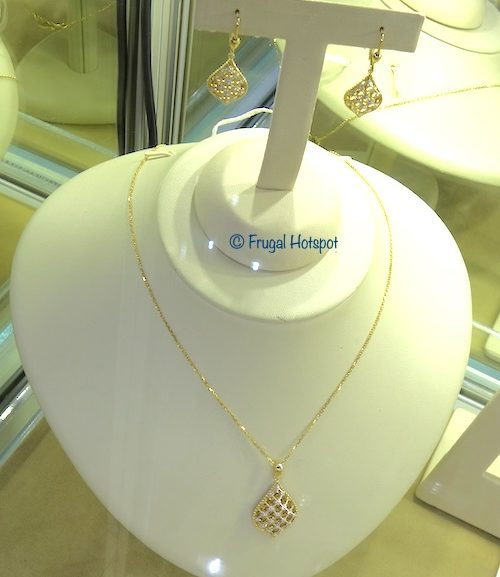 Costco Sale: 14kt Two Tone Gold Teardrop Pendant and Earrings