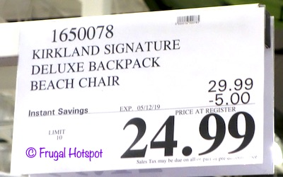 Kirkland Signature Deluxe Backpack Beach Chair Costco Sale Price