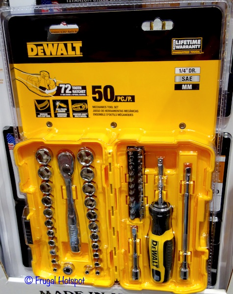 "Dewalt 1/4"" Drive 50-Piece Mechanics Tool Set Costco"