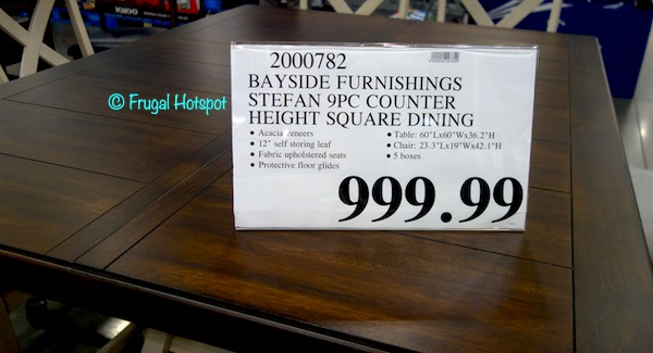 Bayside Furnishings Stefan 9-Piece Counter Height Dining Set Costco Price