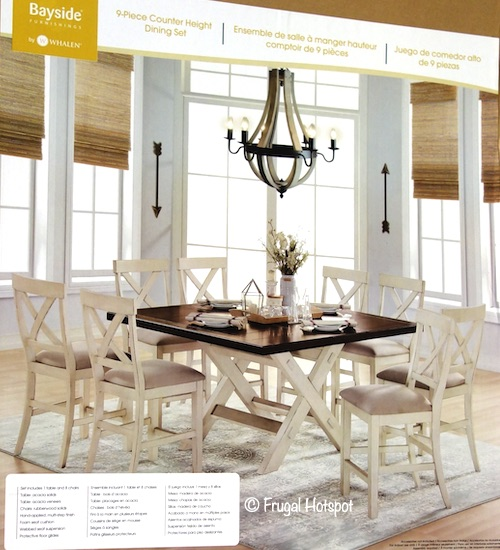 Bayside Furnishings Stefan 9-Piece Counter Height Dining Set Costco