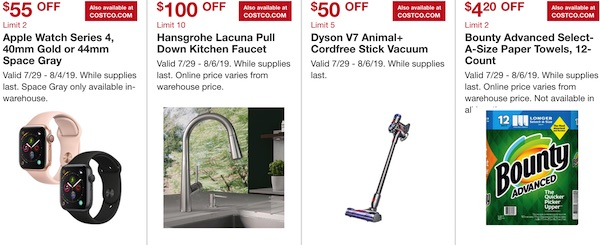 Costco Hot Buys July 2019: Apple Watch Series 4, Hansgrohe Lacuna Kitchen Faucet, Dyson V7 Cordfree Vacuum, Bounty paper towels
