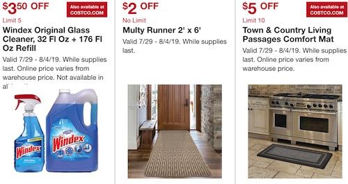 Costco Hot Buys July 2019: Windex glass cleaner, multy runner, Town and Country Living Passages Comfort Mat