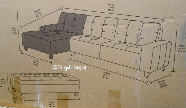 Klaussner Killian Sectional with Ottoman DImensions Costco