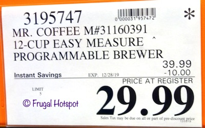 Mr. Coffee 12-Cup Easy Brewer Costco Sale Price