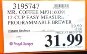 Mr. Coffee 12-Cup Easy Measure Brewer Costco Sale Price