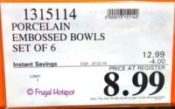 Porcelain Embossed Bowls Costco Sale Price