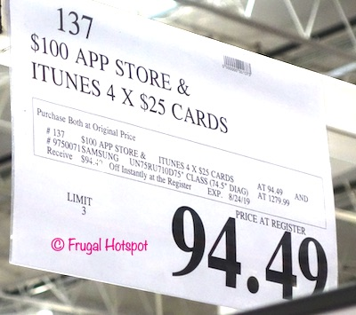 Samsung 75 4k Smart TV and iTunes Costco Sale Price