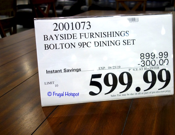 Bayside Furnishings Bolton 9-Piece Dining Set Costco Sale Price