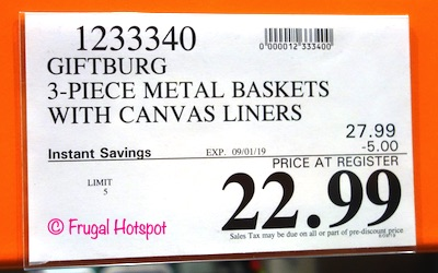 Giftburg 3-Piece Metal Wire Baskets Costco Sale Price