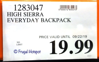 High Sierra Everyday Backpack Costco Price