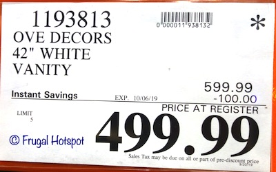 Ove 42 White Bathroom Vanity Costco Sale Price