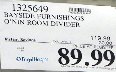 Bayside Furnishings O'nin Room Divider Costco Sale Price