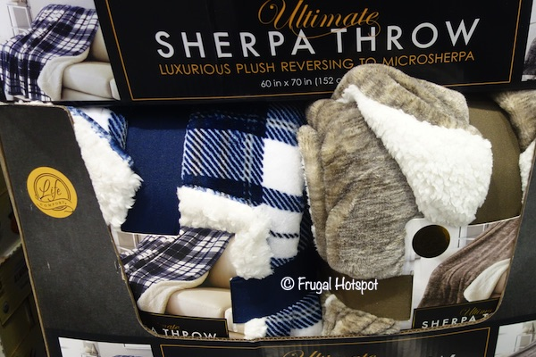 Life Comfort Ultimate Sherpa Throw Blue or Brown Costco