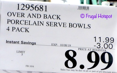 Over and Back What a Dish! Porcelain Serving Bowls 4-Count Costco Sale Price