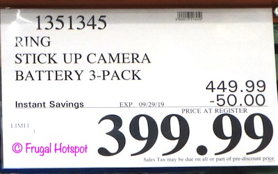 Ring Stick Up Camera Battery 3-Pack Costco Sale Price